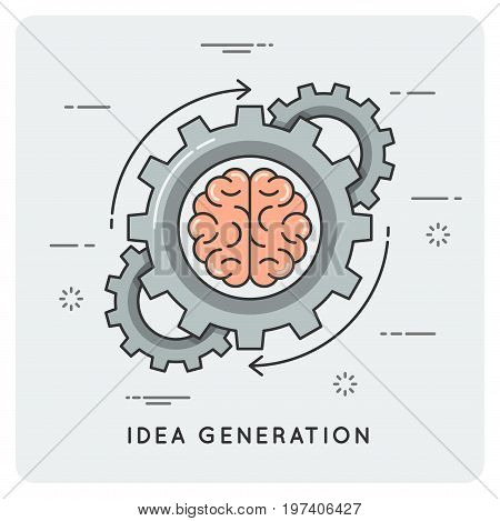 Idea generation. Linear flat style concept. Vector illustration