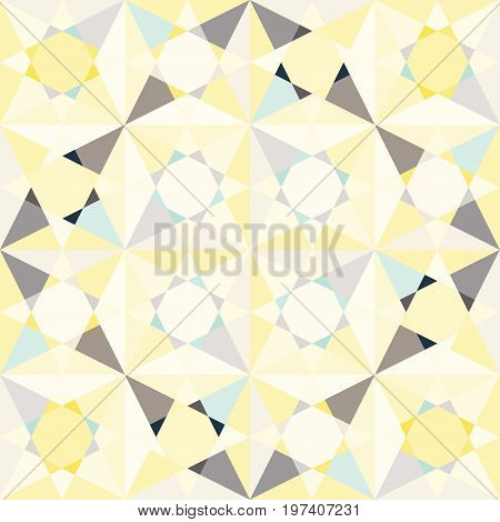 Kaleidoscope glass mosaic tiles seamless vector pattern. Glossy flat pastel yellow and blue colors triangle splinters background.