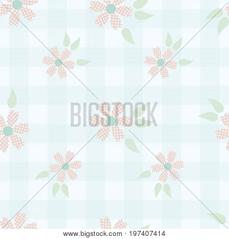 Shabby chic floral background. Seamless vector pattern in shabby chic style