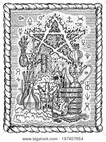 Black and white mystic drawing with alchemical symbols, skull, pentagram and laboratory equipment in frame. Occult and esoteric vector illustration, gothic engraved background