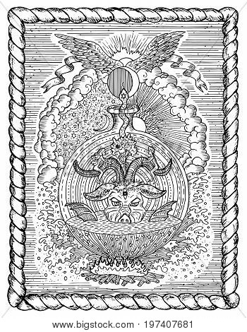 Black and white drawing with mystic and christian religious symbols as Devil, Eve and Adam, hell and paradise in frame. Occult and esoteric vector illustration, gothic engraved background