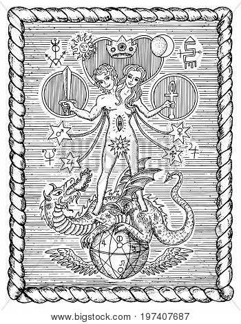Black and white drawing with mystic and alchemical symbols, androgyne, twins or Gemini concept in frame. Occult and esoteric vector illustration, gothic engraved background in frame
