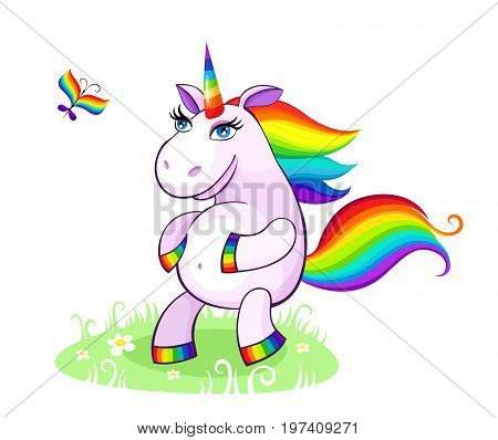 vector illustration with a magical funny colorful unicorn