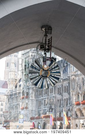 bell tower in München art clock in a viaduct