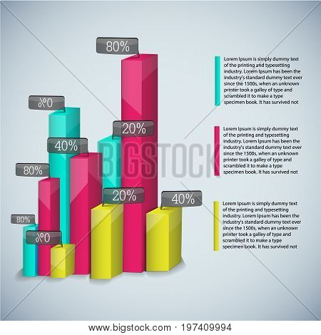 Business diagram template with colored realistic diagrams for presentations and with descriptions vector illustration