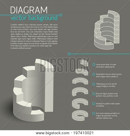 Gray business diagram infographic with isolate elements or pieces of chart and descriptions vector illustration