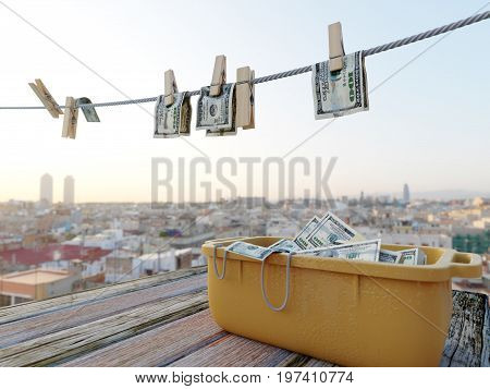 washing clothesline money concept composition background photo