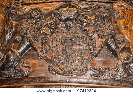 Stockholm, Sweden-July 11, 2017: Detail from the Vasa warship that sank on its maiden voyage in the Stockholm harbor