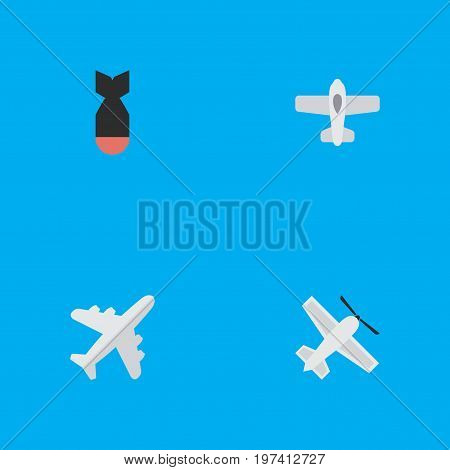 Elements Aircraft, Craft, Plane And Other Synonyms Craft, Bomb And Dynamite.  Vector Illustration Set Of Simple Aircraft Icons.