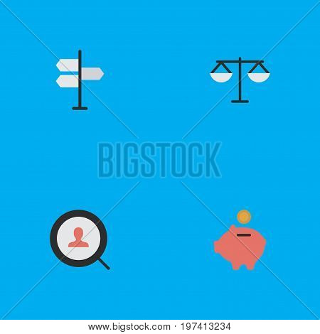 Elements Direction, Magnifier, Moneybox And Other Synonyms Search, Magnifier And Piggy.  Vector Illustration Set Of Simple Trade Icons.