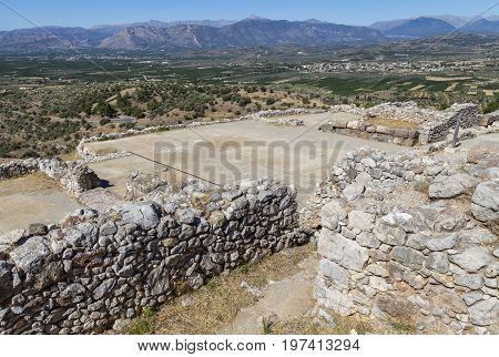 Mycenae, View Of The Palace Building