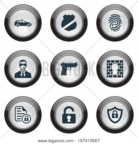 Elements Fingerprint, Guard, Safe And Other Synonyms Car, Secret And Handgun.  Vector Illustration Set Of Simple Security Icons.