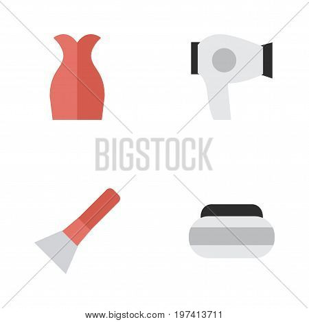 Elements Drying Machine, Dress, Brush And Other Synonyms Blow-Dryer, Garment And Cream.  Vector Illustration Set Of Simple Beauty Icons.