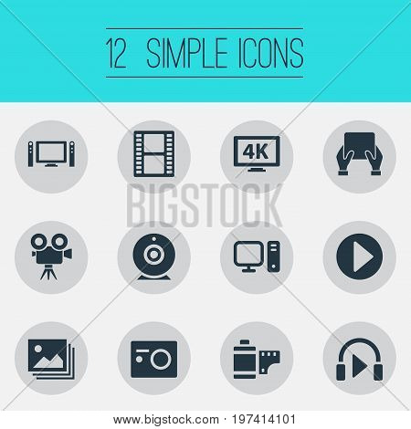 Elements Entertainment, Ultra Display, Image And Other Synonyms Tv, Television And Loudspeaker.  Vector Illustration Set Of Simple Media Icons.