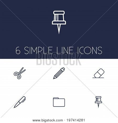 Collection Of Portfolio, Eraser, Pushpin And Other Elements.  Set Of 6 Instruments Outline Icons Set.