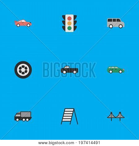 Elements Bridgework, Sedan, Coupe And Other Synonyms Sport, Circle And Minibus.  Vector Illustration Set Of Simple Traffic Icons.