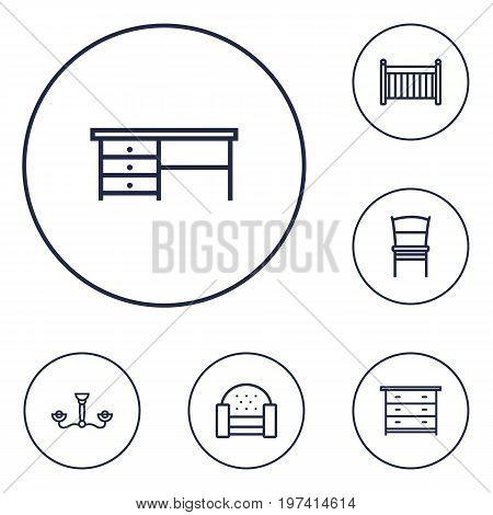 Collection Of Sofa, Desk, Chandelier Elements.  Set Of 6 Set Outline Icons Set.