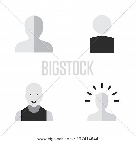 Elements Avatar, Contour, Profile And Other Synonyms Boy, Profile And Man.  Vector Illustration Set Of Simple Person Icons.