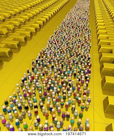 Crowd of small symbolic figures golden reserve 3d illustration horizontal