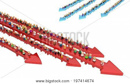 Crowd of small symbolic figures movement arrows 3d illustration isolated horizontal over white