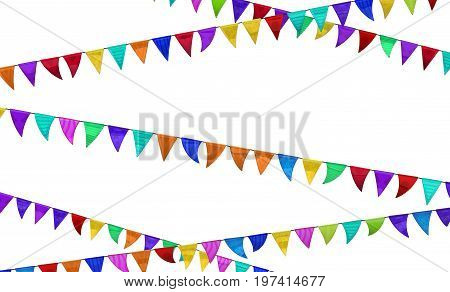 Celebration party colorful flags 3d illustration isolated horizontal over white