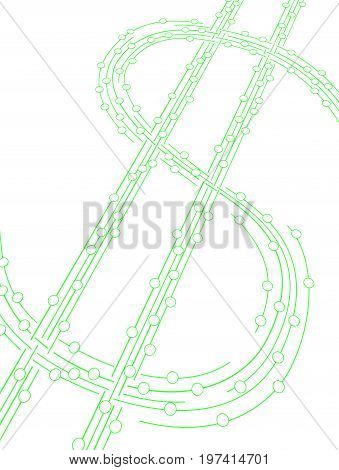 System 3d green line linked circles money dollar symbol isolated vertical