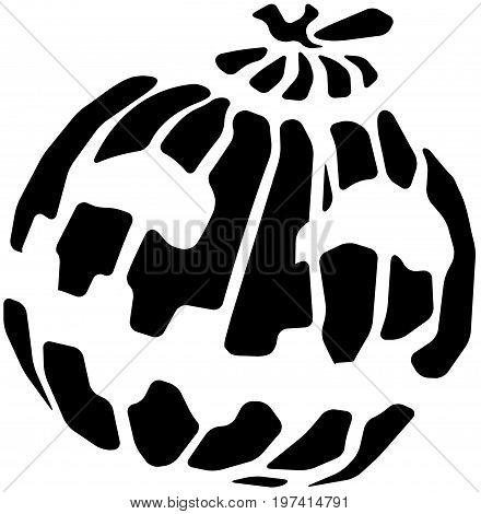 Halloween pumpkin stylized symbol black, vector illustration, horizontal, isolated