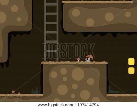Underground hidden door home, vector illustration color cartoon, horizontal