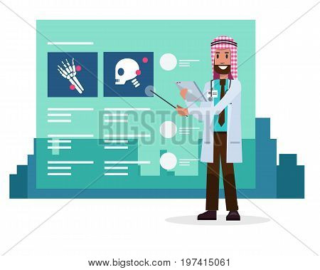 Saudi Arab doctor speaking about x-ray films information on glass screen. medical and technology concept. flat character design .Vector illustration