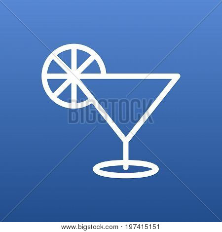Vector Cocktail   Element In Trendy Style.  Isolated Martini Outline Symbol On Clean Background.