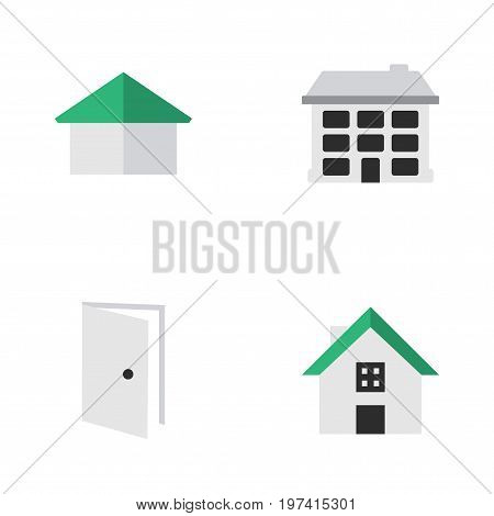 Elements Structure, Entry, Home And Other Synonyms Home, Door And House.  Vector Illustration Set Of Simple Property Icons.