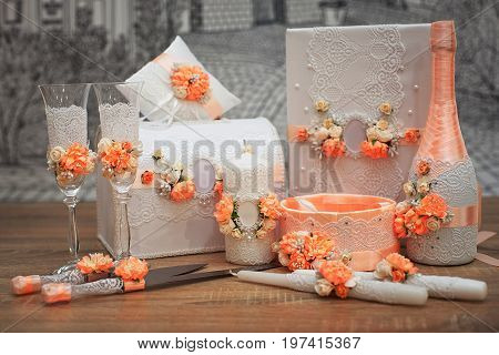 A Set Of Wedding Accessories, Decorated In Colored Tapes And Jewelry.