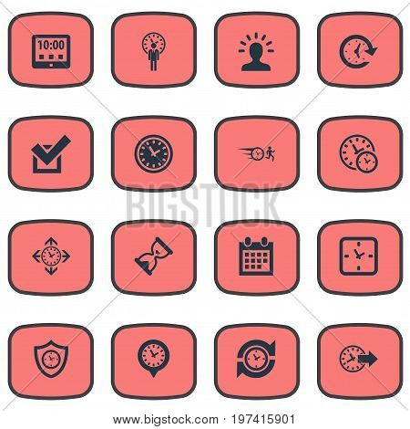 Elements Calendar, Chronometer, Redirect And Other Synonyms Day, Timer And Redirect.  Vector Illustration Set Of Simple Management Icons.