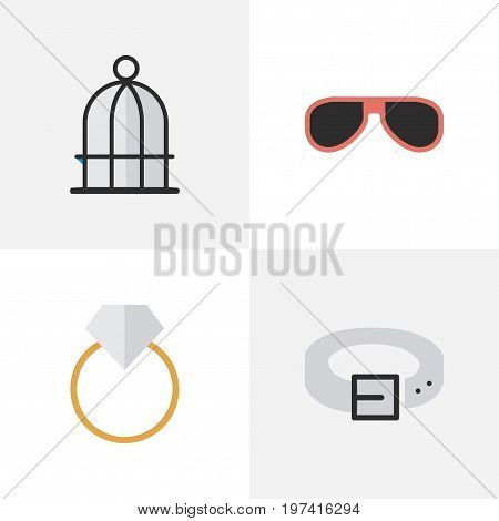 Elements Strap, Engagement, Birdcage And Other Synonyms Ring, Cage And Engagement.  Vector Illustration Set Of Simple Equipment Icons.
