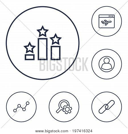 Collection Of Url, Guest, Columns And Other Elements.  Set Of 6 Optimization Outline Icons Set.