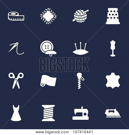 Collection Of Spool, Embroidered, Seamstress And Other Elements.  Set Of 16 Stitch Icons Set.