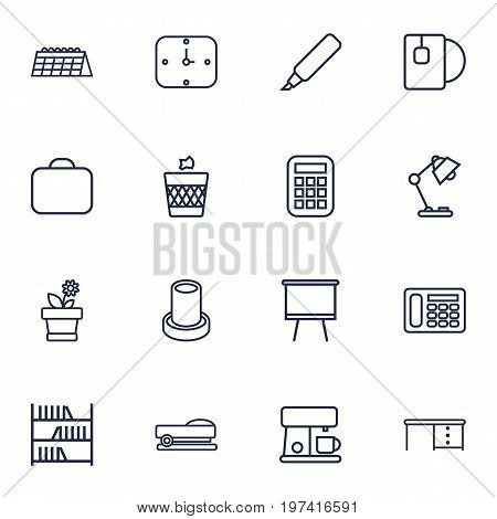 Collection Of Calculator, Table Lamp, Staple And Other Elements.  Set Of 16 Bureau Outline Icons Set.