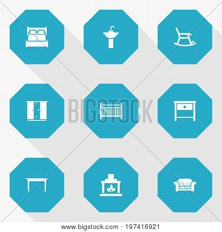 Collection Of Cot, Bedroom, Desk And Other Elements.  Set Of 9 Situation Icons Set.