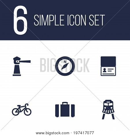 Collection Of Bike, Direction, Seamark And Other Elements.  Set Of 6 Relax Icons Set.