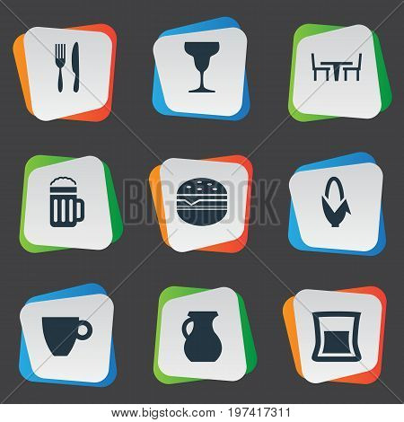 Elements Lager, Mug, Utencil And Other Synonyms Jug, Cup And Snack.  Vector Illustration Set Of Simple Gastronomy Icons.