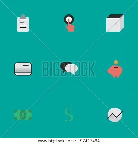 Elements Talking, Greenback, Dollar And Other Synonyms Touching, Growing And Cube.  Vector Illustration Set Of Simple Trade Icons.