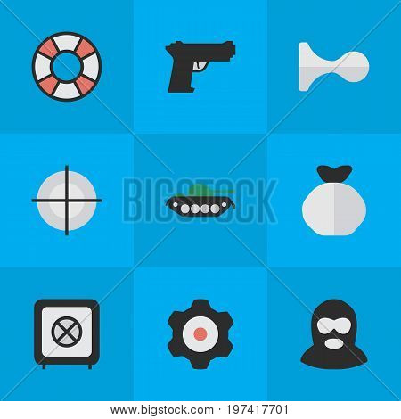Elements Cogwheel, Lifesaver, Criminal And Other Synonyms Cogwheel, Tank And Gun.  Vector Illustration Set Of Simple Offense Icons.