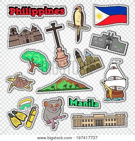 Travel to Philippines. Stickers, Badges and Patches with Philippines Architecture, Animals and Nature. Vector illustration