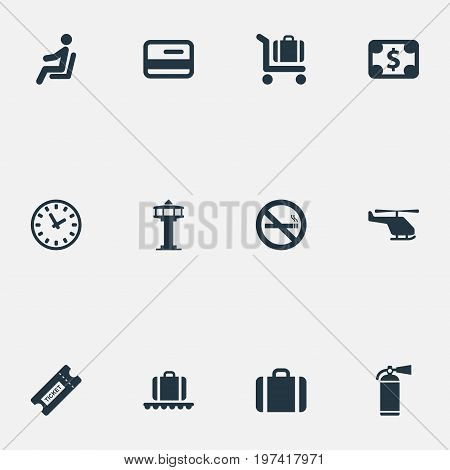 Elements Currency, Seat, Luggage Carousel And Other Synonyms Fly, Dollar And Card.  Vector Illustration Set Of Simple Transportation Icons.