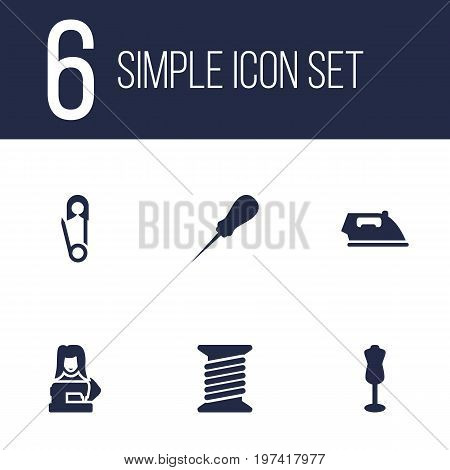 Collection Of Bodkin, Mannequin, Flatiron And Other Elements.  Set Of 6 Stitch Icons Set.