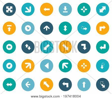 Elements Left Direction, Enlarge, Upward Direction And Other Synonyms Down, Down Right Pointing And Left.  Vector Illustration Set Of Simple Indicator Icons.