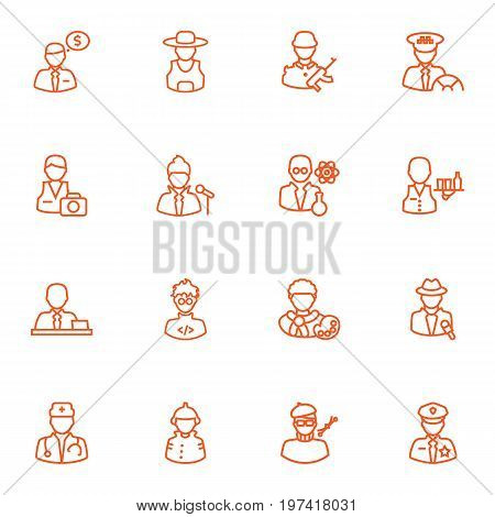 Collection Of Reporter, Programmer, Banker And Other Elements.  Set Of 16 Position Outline Icons Set.