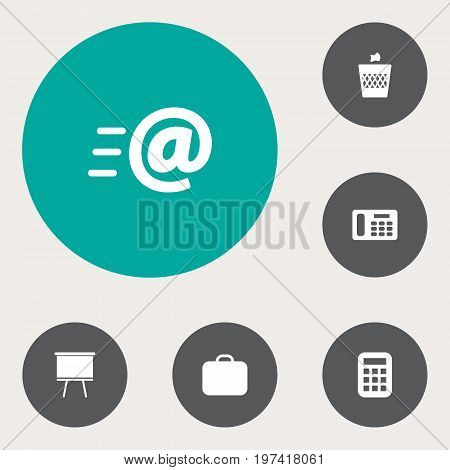 Collection Of Message, Blackboard, Calculate And Other Elements.  Set Of 6 Bureau Icons Set.