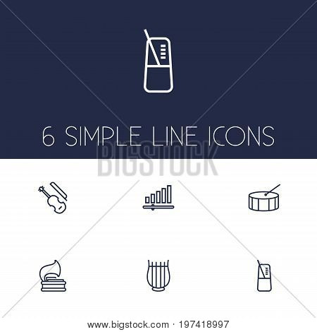Collection Of Pace, Fiddle, Vinyl And Other Elements.  Set Of 6 Melody Outline Icons Set.