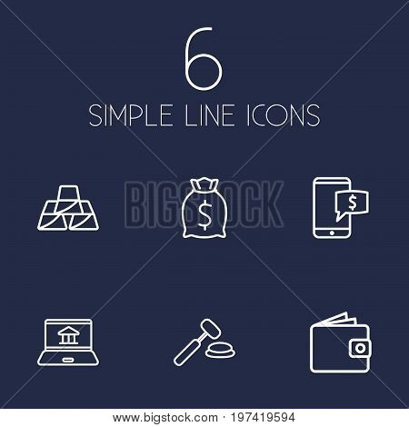 Collection Of Moneybag, Electron Payment, Auction And Other Elements.  Set Of 6 Finance Outline Icons Set.